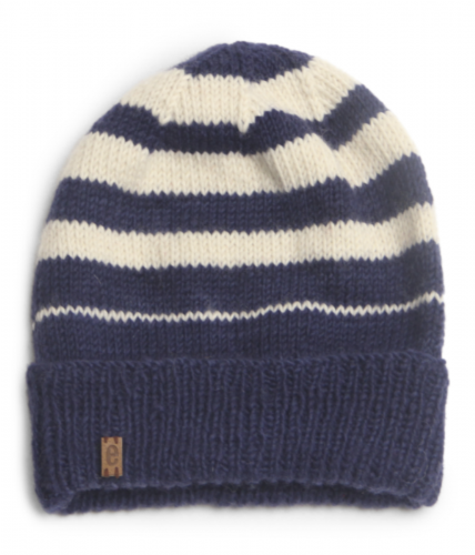 Wool Beanie Hat Striped - Royal Blue
